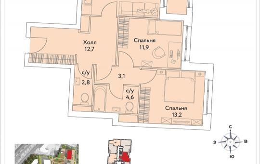 2-комнатная квартира, 65.3 м2, 35 этаж