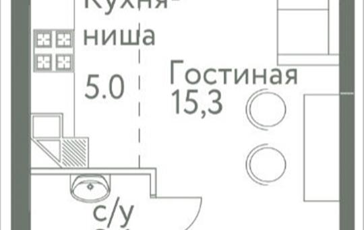Студия, 24.8 м2, 5 этаж