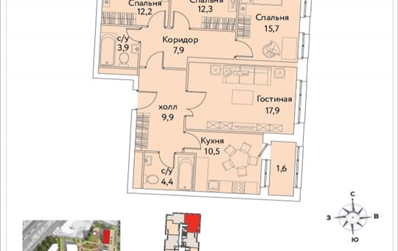 4-комнатная квартира, 96.3 м2, 30 этаж