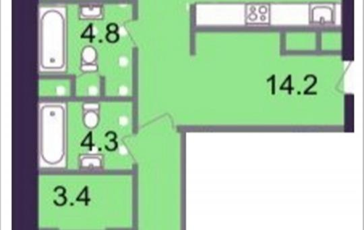 2-комнатная квартира, 86.1 м2, 6 этаж