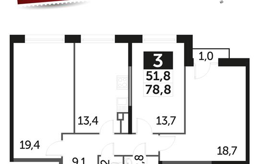 3-комнатная квартира, 78.8 м2, 4 этаж