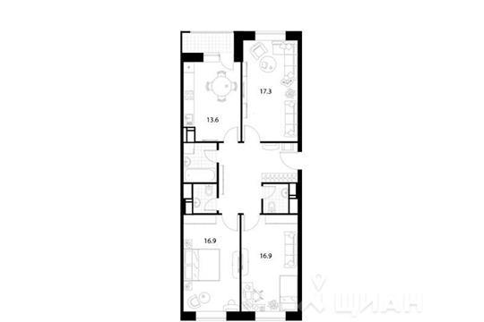 3-комнатная квартира, 88.4 м2, 20 этаж