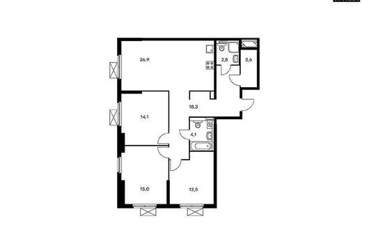 3-комнатная квартира, 97.7 м2, 20 этаж