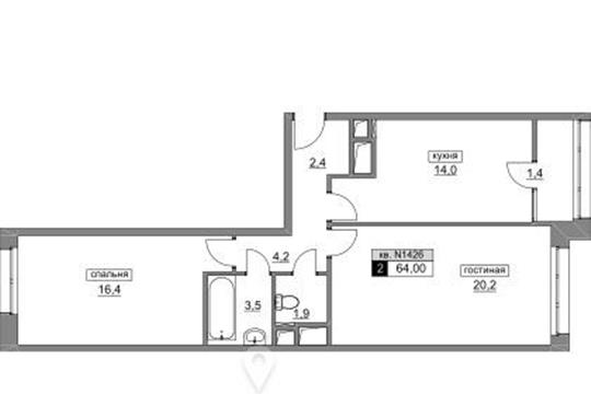 2-комнатная квартира, 64 м2, 16 этаж