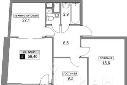 2-комнатная квартира, 59.4 м2, 21 этаж