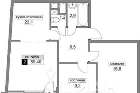 2-комнатная квартира, 59.4 м2, 13 этаж