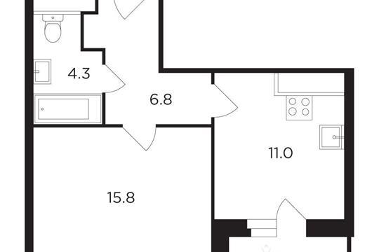 1-комнатная квартира, 39.44 м<sup>2</sup>, 12 этаж