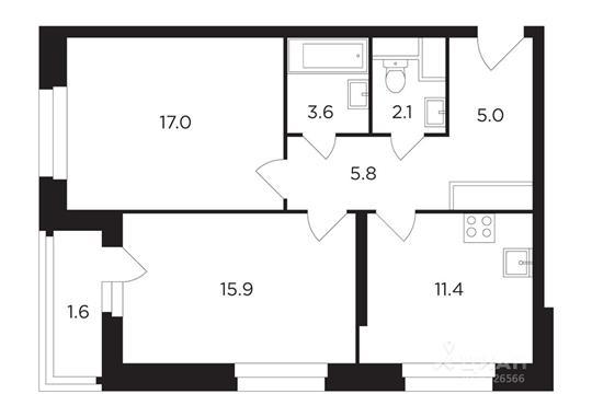 2-комнатная квартира, 62.35 м<sup>2</sup>, 13 этаж