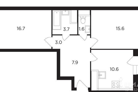 2-комнатная квартира, 60.55 м<sup>2</sup>, 17 этаж