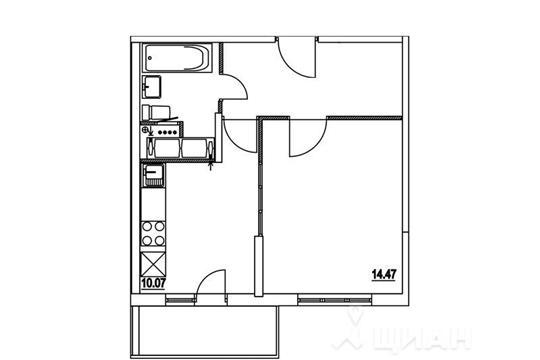 1-комнатная квартира, 37.66 м<sup>2</sup>, 7 этаж
