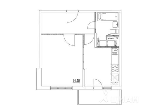1-комнатная квартира, 37.9 м<sup>2</sup>, 17 этаж
