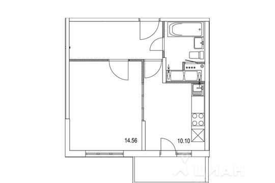 1-комнатная квартира, 37.82 м<sup>2</sup>, 11 этаж