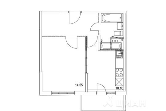 1-комнатная квартира, 37.91 м<sup>2</sup>, 22 этаж