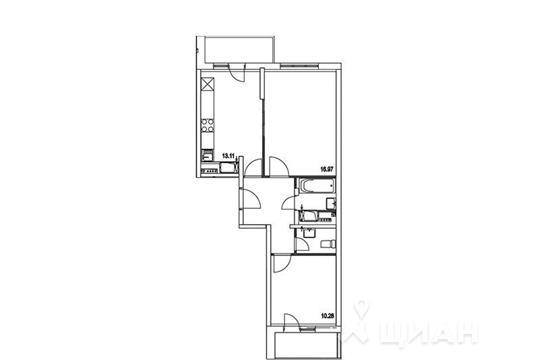 2-комнатная квартира, 55.95 м<sup>2</sup>, 6 этаж