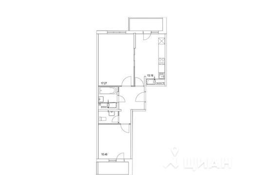 2-комнатная квартира, 56.75 м<sup>2</sup>, 20 этаж