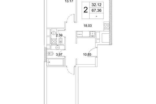 2-комнатная квартира, 67.36 м<sup>2</sup>, 5 этаж