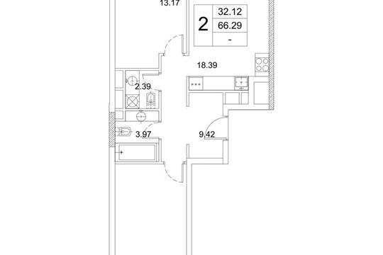 2-комнатная квартира, 66.29 м<sup>2</sup>, 12 этаж