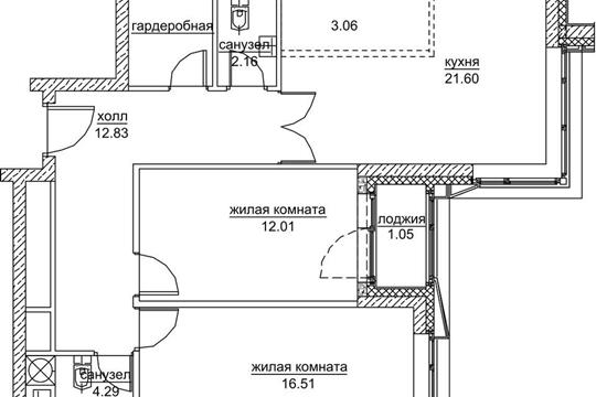 2-комнатная квартира, 73.51 м<sup>2</sup>, 17 этаж