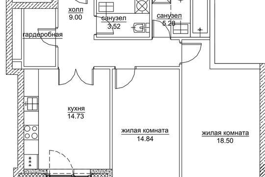 2-комнатная квартира, 70.65 м<sup>2</sup>, 16 этаж
