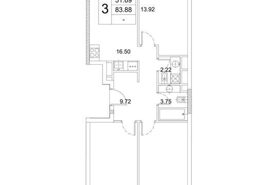 3-комнатная квартира, 83.88 м<sup>2</sup>, 3 этаж