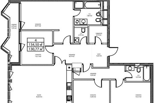 4-комнатная квартира, 136.1 м<sup>2</sup>, 7 этаж