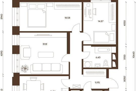 3-комнатная квартира, 93.64 м<sup>2</sup>, 19 этаж_1