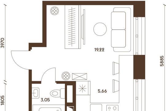 Студия, 27.97 м<sup>2</sup>, 18 этаж_1