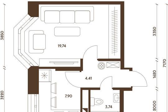 1-комнатная квартира, 35.79 м<sup>2</sup>, 14 этаж_1