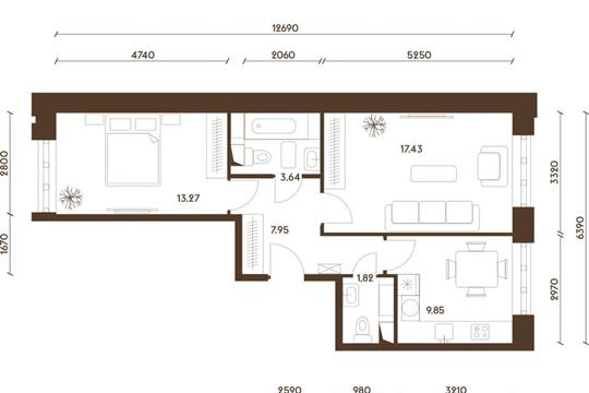 2-комнатная квартира, 53.96 м<sup>2</sup>, 13 этаж