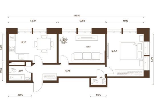2-комнатная квартира, 65.79 м<sup>2</sup>, 14 этаж