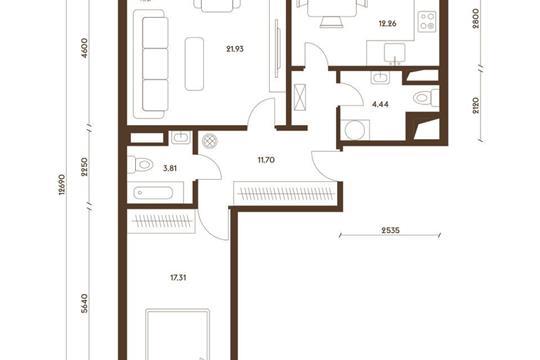 2-комнатная квартира, 71.45 м<sup>2</sup>, 8 этаж