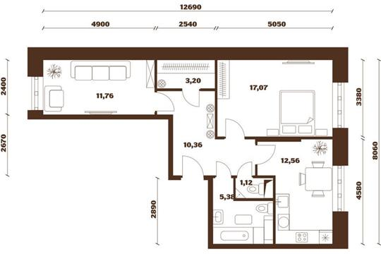 2-комнатная квартира, 61.45 м<sup>2</sup>, 8 этаж