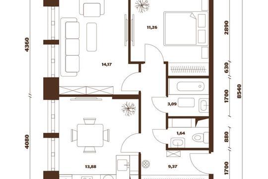 2-комнатная квартира, 53.41 м<sup>2</sup>, 8 этаж