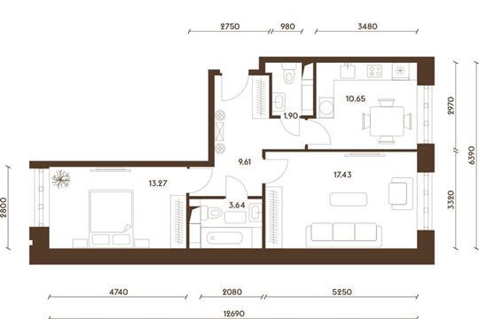 2-комнатная квартира, 56.5 м<sup>2</sup>, 19 этаж