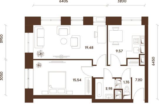 2-комнатная квартира, 56.2 м<sup>2</sup>, 32 этаж