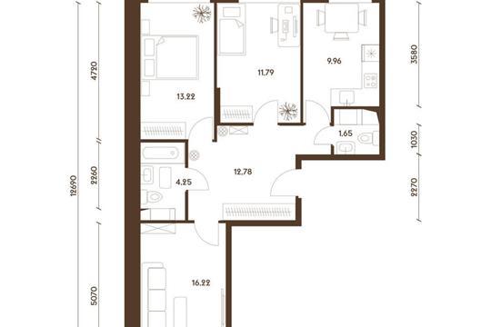 3-комнатная квартира, 69.87 м<sup>2</sup>, 9 этаж