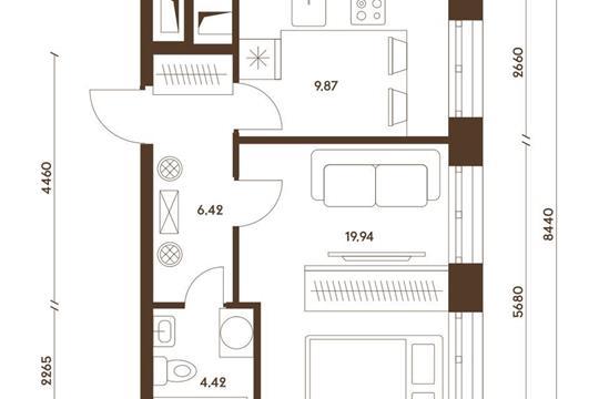 1-комнатная квартира, 40.65 м<sup>2</sup>, 19 этаж