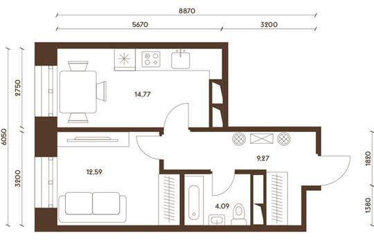 1-комнатная квартира, 40.72 м<sup>2</sup>, 2 этаж