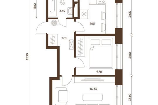 2-комнатная квартира, 45.65 м<sup>2</sup>, 17 этаж