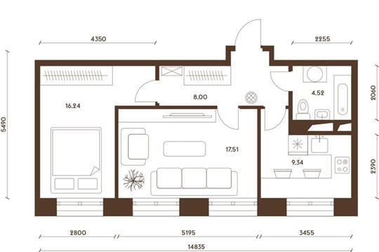2-комнатная квартира, 55.61 м<sup>2</sup>, 4 этаж