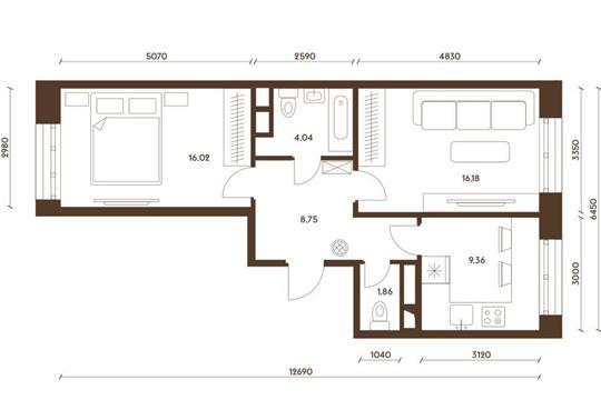 2-комнатная квартира, 56.21 м<sup>2</sup>, 16 этаж