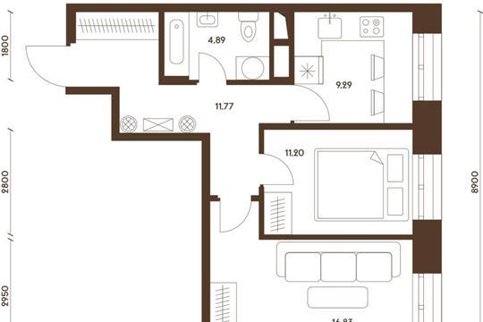 2-комнатная квартира, 53.98 м<sup>2</sup>, 22 этаж