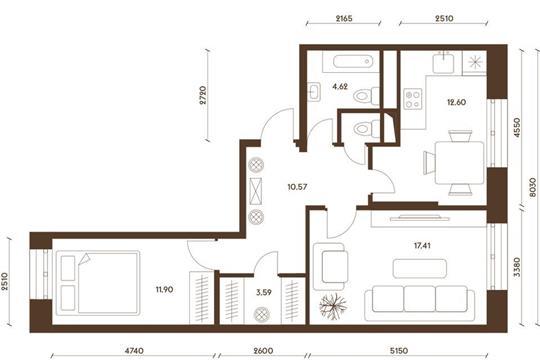 2-комнатная квартира, 61.76 м<sup>2</sup>, 13 этаж