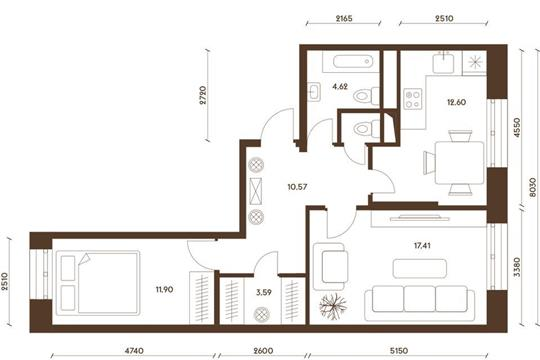2-комнатная квартира, 61.76 м<sup>2</sup>, 19 этаж