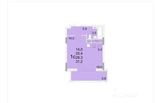 Студия, 28.3 м<sup>2</sup>, 12 этаж