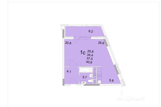 Студия, 37.5 м<sup>2</sup>, 10 этаж