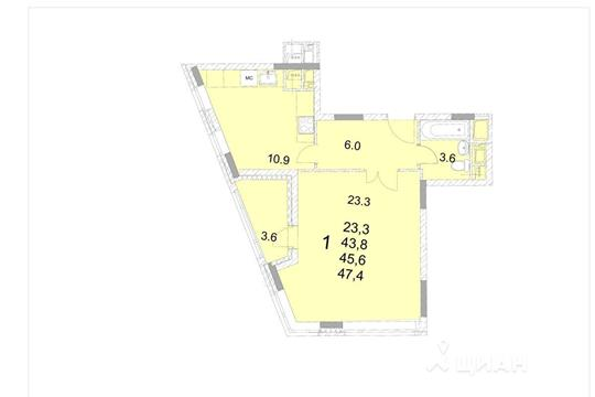 1-комнатная квартира, 45.6 м<sup>2</sup>, 15 этаж
