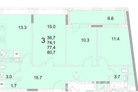 3-комнатная квартира, 78 м<sup>2</sup>, 12 этаж