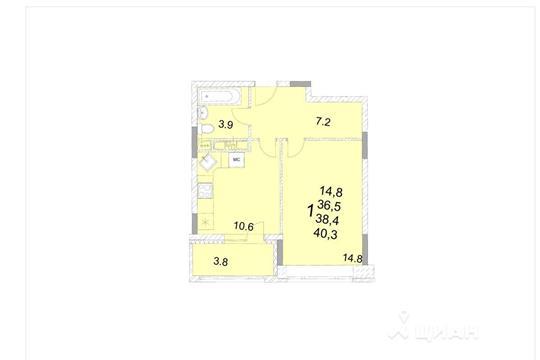 1-комнатная квартира, 38.4 м<sup>2</sup>, 14 этаж