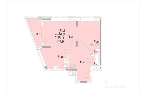 2-комнатная квартира, 61.1 м<sup>2</sup>, 15 этаж